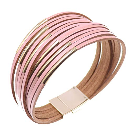 KSQS Tree of Life Multilayer Leather Wrap Bracelets,Boho Pearl Gorgeous Cuff Bracelet with Magnetic Buckle,Casual Bangle for Women&Girl ()
