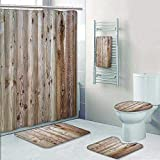 5 Piece Banded Shower Curtain Set Rustic Home Monochrome Wood Minimalist Rough Lined Up Tiled Logs Row PlankSurface Image Decorate The Bath