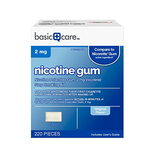 Basic Care Nicotine Gum 2mg, Stop Smoking Aid, Original, 220 Count -