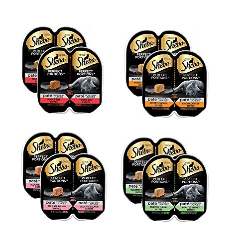 Sheba Perfect Portions Twin Packs of Tender Beef (2), Savory Chicken (2), Roasted Turkey (2), Delicate Salmon (2), 8 twin packs