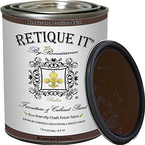 Retique It Chalk Furniture Paint by Renaissance DIY, 16 oz (Pint), 14 Arabian Coffee