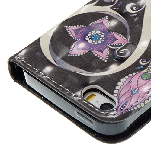 iPhone SE / 5 / 5S Hülle Pfau Blume PU Leder Wallet Handytasche Flip Etui Schutz Tasche mit Integrierten Card Kartensteckplätzen und Ständer Funktion Für Apple iPhone SE / 5 / 5S + Zwei Geschenk