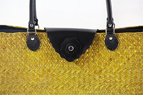JaponéS RatáN Bolsa De Mujer BoBoLaLa Tailandesa Trenzado Retro Paquete De De VersióN Playa del De Paquete De Paquete Mujer De As05Kafei Estilo Arte AS05yuan Serie a8FZwqax