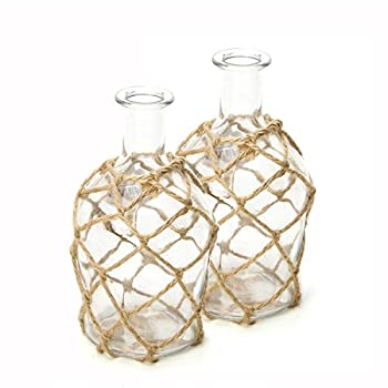 Hosley Set of 2 Glass Floral Rose Vases, Rope Wrapped, Coastal Style. Ideal Gift for Floral Arrangements Spa, Aromatherapy, Nautical Votive Tea Light Candle Garden, Essential Oil Diffuser DWDOO O7