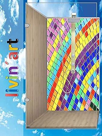 LivinART - Pared de ducha original, pared posterior, pared posterior de cocina, mosaico arco iris, ZEN playa mar cielo Spa, sin juntas, revestimiento de baño, imagen de pared, decoración, sustitución de baldosas: