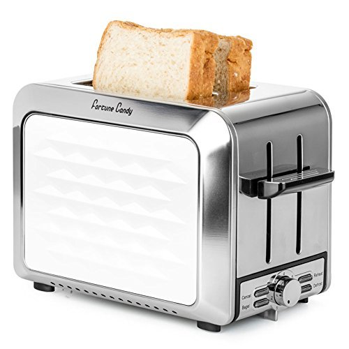 Fortune Candy KST011 White 2-Slice Toaster,Stainless Steel Toaster with Extra Wide Slot and High Lift Lever for Bagels,Retro Toaster with Bagel/Defrost/Reheat/Cancel Function,7 Toast Shade Settings