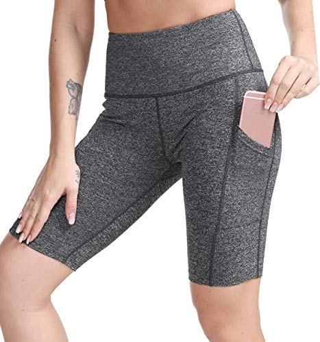 TYUIO High Waist Gym Fitness Running Shorts Above Knee w Pockets for Yoga Workout Bike Grey