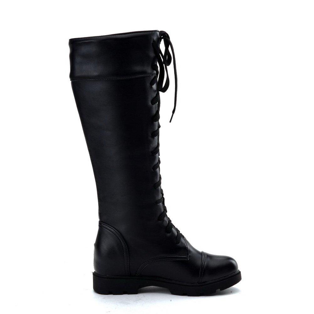 US AdeeSu Ladies Bandage Square Heels Platform Black Imitated Leather Boots M 6.5 B
