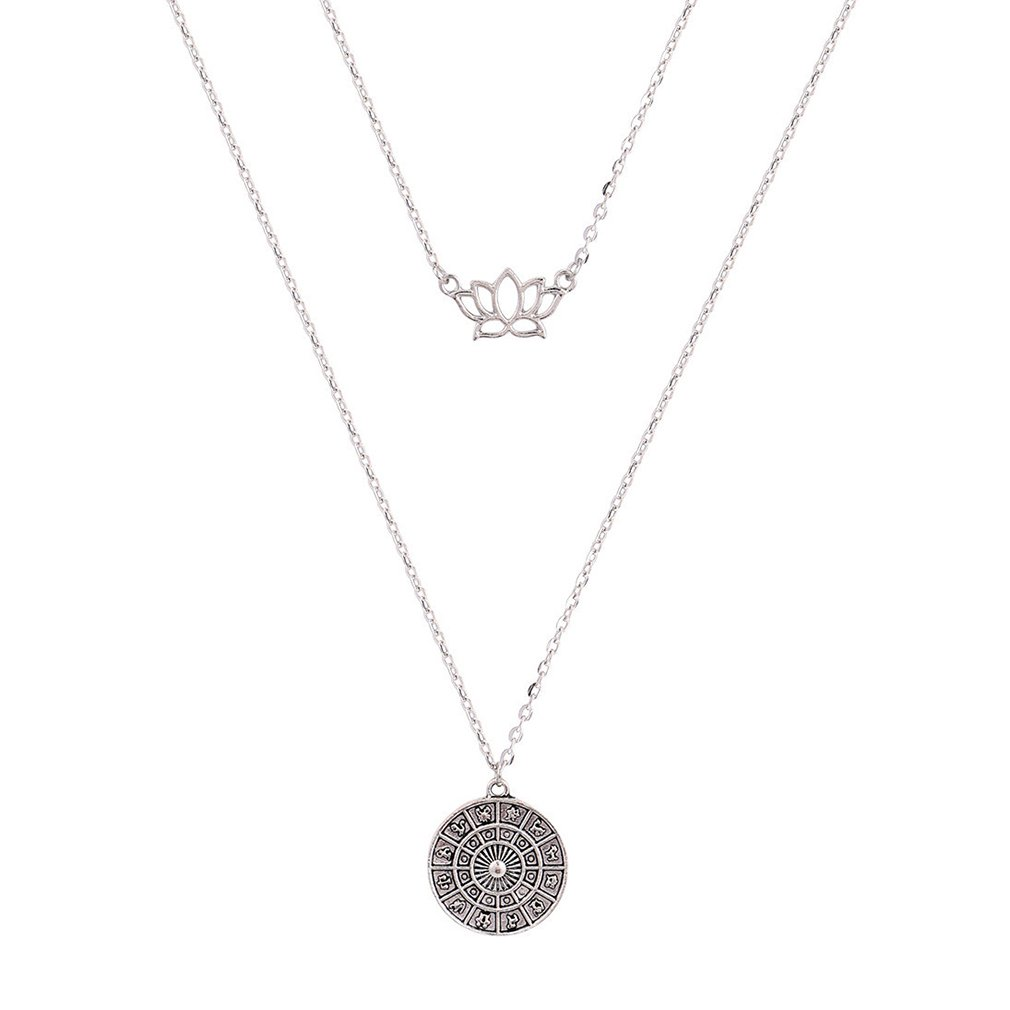 SOURBAN Fashion Bohemian Lotus Disc Multilayer Necklace Chain by SOURBAN (Image #2)