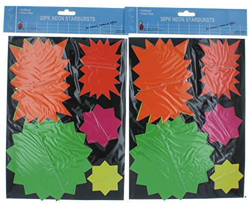 Lot of 60 Neon Starburst Bright Sign Tags Price Sale
