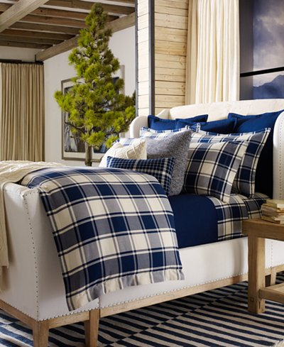 Ralph Lauren Winter Harbour Acadia Blue on Cream Classic Plaid Check Extra Deep Fitted Twin Size Sheet