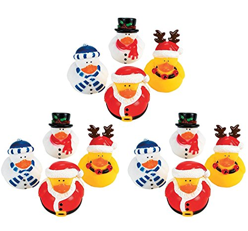 Christmas Rubber Duckies (Fun Express Vinyl Holiday Rubber Duckies | 24 Count | Great for Christmas-Themed Party Favors and Bathroom Holiday)