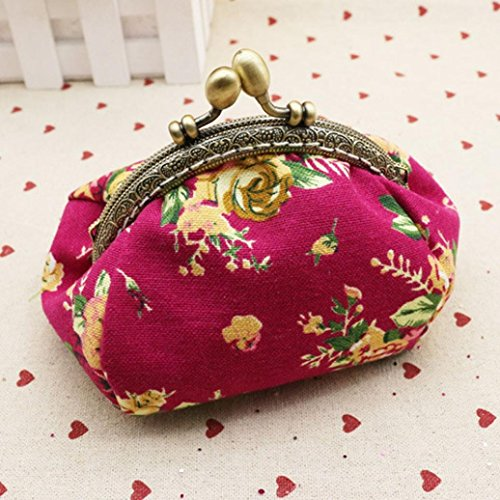 Purse Clutch Kimanli Women Small Girls Wallet Retro Pink Vintage Bag Hasp White Flower Lady Hot PR4aawqEdC