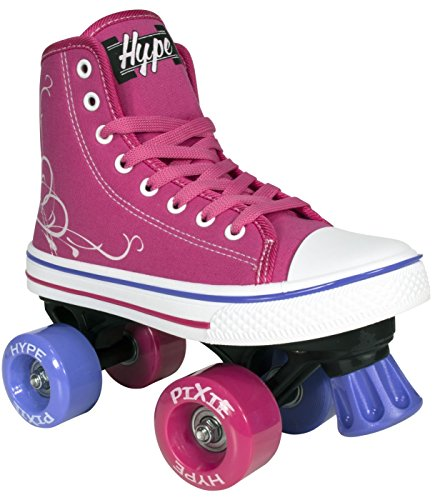 Roller Skates for Girls | HYPE Pixie Kid's Quad Roller Skates with High Top Shoe Style for Indoor / Outdoor Skating | Durable, Easy to Skate, Made for Kids (Pink, J11)