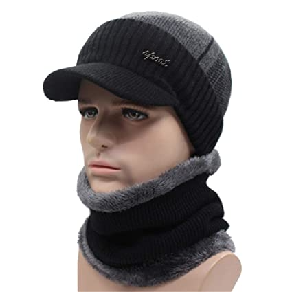 Qianmome Winter Skullies Beanies Scarf Balaclava Mask Gorras Bonnet Knitted Hat at Amazon Mens Clothing store: