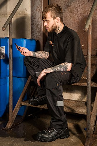Black Hammer Herren Leder Sicherheitsschuhe Leicht Stahlkappe Arbeitsschuhe Knöchelhoch Wanderschuhe Leder 8891 Schwarz