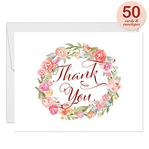Delicate Peach Watercolor Floral Thank You Cards with Envelopes ( Pack of 50 ) Blank Folded Notes Birthday Shower Engagement Party Wedding Gift Thank You Gracias Notecards Excellent Value VT0035