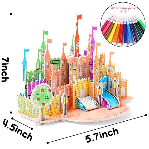 Amor 3D Coloring Castle Puzzle Set Jigsaw Puzzles for Kids for Birthday Present, Thanksgiving Gift, New Year Gift