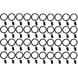 1.5-inch, Set of 40, Black - Metal Curtain Rings with Clips and Eyelets – TEJATAN (Also Known as Rings with Curtain Clips/Curtain Clip Rings/Drapery Rings/Drapery Clip Rings)