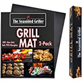 The Seasoned Griller FDA Approved Non-Stick Dishwasher Safe Grill Mats, Reuseable 2-Pack Easy to Clean Mat, Grilling and Baking, Charcoal, Gas, Wood, Electric Grilling Accessories