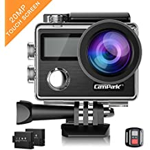 Action Camera Campark X20 4K 20MP Touch Screen Waterproof Video Cam Sony Sensor Underwater Camcorder with EIS, Dual Screen, Remote Control and Mounting Accessories Kits