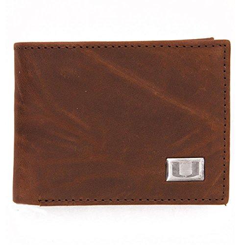 NCAA Miami Hurricanes Men's Bi Fold Wallet, One Size, Brown - Miami College Leather