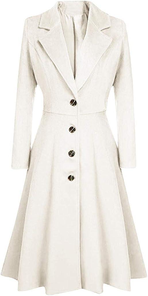 Yajiemen Womens Winter Lapel Button Long Trench Coat Jacket Ladies Overcoat Outwear