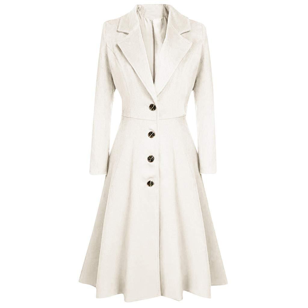Sunnywill Femme Beauté - Femmes Slim Fit Solide Trench Coat Extra Long Classique Manteaux Pardessus Epais Hiver Automne
