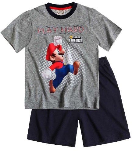 Super Mario – joven Verano de 2 – Panel Pijama Shorty corta gris 8 años