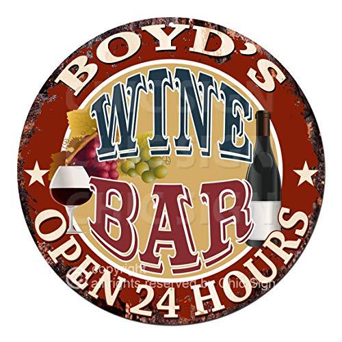 (BOYD'S Wine BAR Open 24 Hours Chic Tin Sign Rustic Shabby Vintage Style Retro Kitchen Bar Pub Coffee Shop Man cave Garage Decor Gift Ideas)