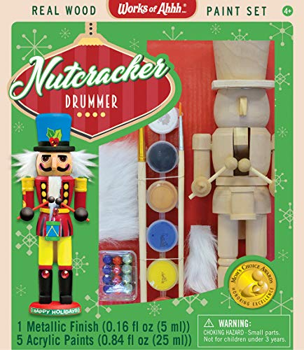Kids Nutcracker - MasterPieces Works of Ahhh Christmas Real Wood Large Acrylic Paint Kits, Nutcracker Drummer, for Ages 4+
