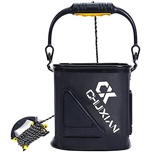 Drasry Collapsible Fishing Bait Bucket Portable Multi-Functional Fish Live Lures Bucket (Black)