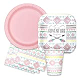Boho Tribal Baby Shower Party Supplies Set -''and So The Adventure Begins'' Themed Paper Plates, Napkins