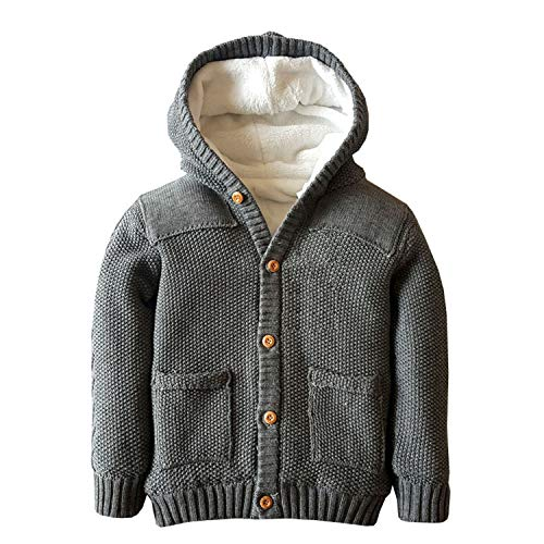 - Dealone Baby Boys Hoodies Toddler Long Sleeve Pocket Knit Sweaters Button Cardigan Coat Grey