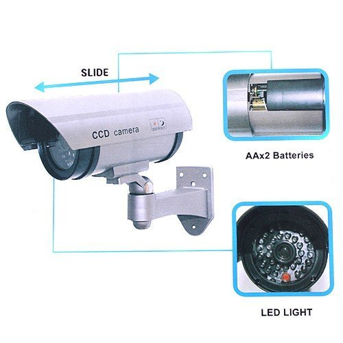 Cool Shiny OUTDOOR FAKE / DUMMY SECURITY CAMERA w/ Blinking Light (Silver)