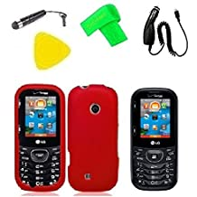 Phone Cover Case Cell Phone Accessory + Car Charger + LCD Screen Protector Guard + Extreme Band + Stylus Pen + Yellow Pry Tool For Verizon LG Cosmos 3 VN251S / LG Cosmos UN251 VN251 (Red)