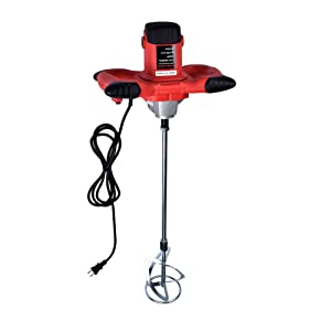 1600W Portable Electric Concrete Cement Plaster Grout Paint Thinset Mortar Paddle Mixer Pro Drill Mixer Stirring Tool Adjustable 6 Speed Handheld Standard 110V