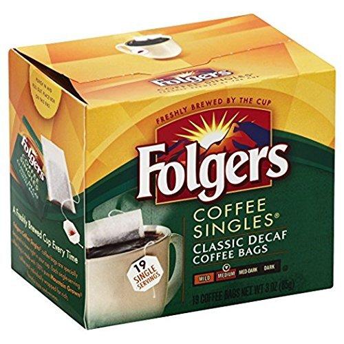 Folgers Classic Medium Roast Decaf Coffee, 19 Count Singles Serve (6 Pack)