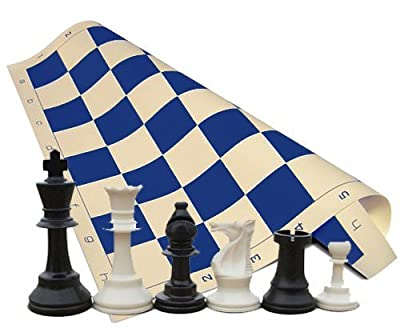 "Tournament Chess Set - Chess Pieces (34 Pieces Black and White with 2 Extra Queens) - Blue Chess Board (20"" x 20"" Vinyl Rollup)"
