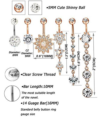 Belly Button Rings,IrbingNii 6pcs of Belly Rings Women Girls Navel Rings Surgical Steel 14G