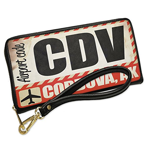 Cdv Card (Wallet Clutch Airportcode CDV Cordova, AK with Removable Wristlet Strap Neonblond)