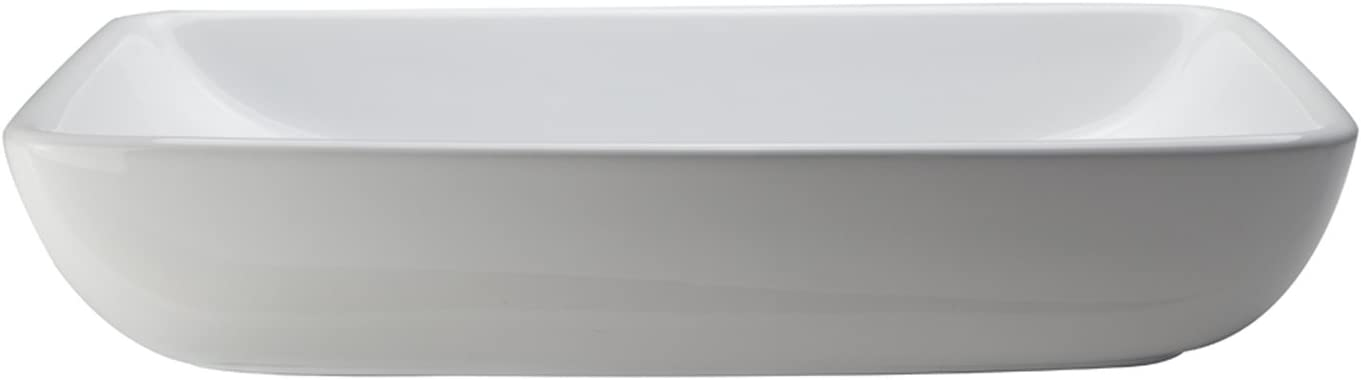 DECOLAV 1445-CWH Jasmine Classically Redefined Rectangular Vitreous China Above-Counter Lavatory Sink, White