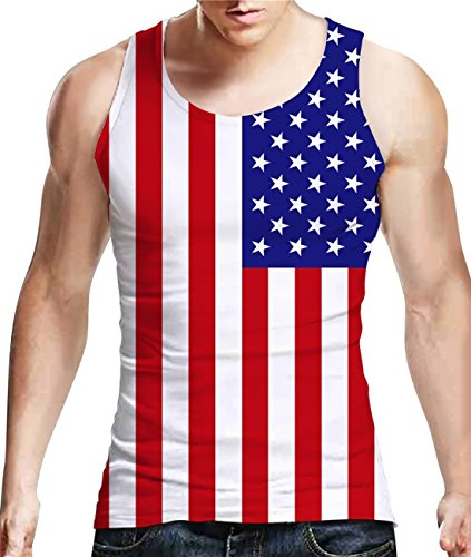 (Idgreatim Men Fashion 3D Graphic Stripe Star Amercian Flag Sleeveless Printed Tank Top Tees)