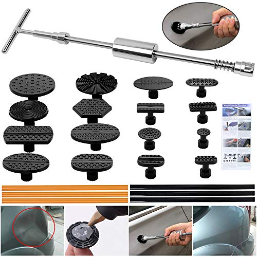 (ARISD Paintless Dent Repair Puller Kit - Dent Puller Slide Hammer T-Bar Tool with 16pcs Dent Removal Pulling Tabs for Car Auto Body Hail Damage Remover)