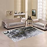 Cheap InterestPrint Bull Moose in Snowy Winter Area Rugs Carpet 7 x 5 Feet, White Snow with Deer Modern Carpet Floor Rugs Mat for Children Kids Home Living Dining Room Playroom Decoration