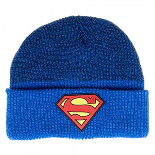 (Faerynicethings Adult Size Superman Rubber Logo Marled Cuff Two Tone Blue Beanie - Hat)