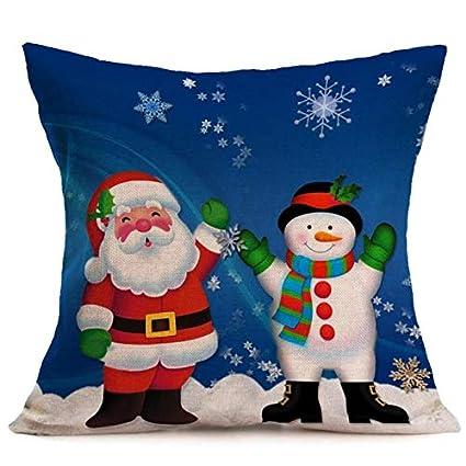 Amazon.com: Cushion Covers Christmas Cartoon Smowman Penguin ...