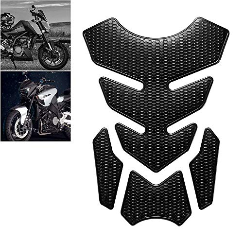 (Gas Tank Protector Motorcycle Tank Pad, 3D Motorcycle Tank Sticker Protector Decal Gas Oil Fuel Tank Pad Protector Black for Suzuki Kawasaki Honda Yamaha Ducati)