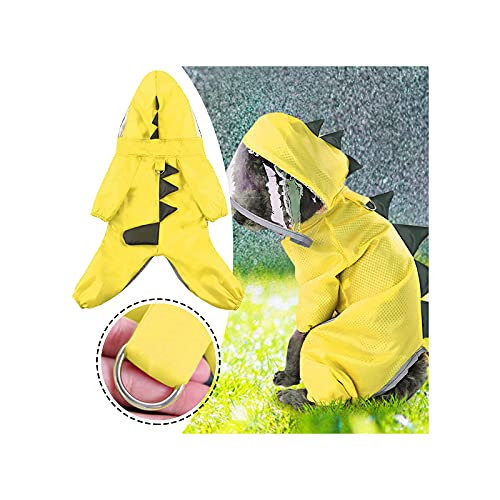 Pet Dog Hooded Raincoat Reflective Rain Jacket Shirt Pet Dog Cat Rain Clothes Waterproof Outdoor Hooded Rainwear Rain Coat Jacket (Yellow, Large)