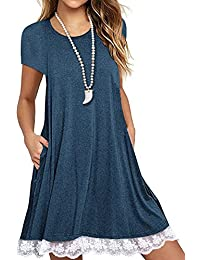 Women's Long Sleeve Cotton Lace T Shirt Dress with Pockets